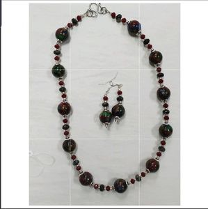 Bloodstone Quartz Handcrafted Necklace & Earrings